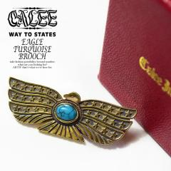 CALEE(キャリー) EAGLE TURQUOISE BROOCH -BRASS-【メンズ ブローチ アクセサリー】【送料無料】【CALEE キャリー】