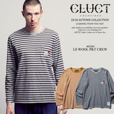 30%OFF SALE セール CLUCT クラクト L/S WOOL PKT CREW cluct メンズ Tシャツ ボーダー 送料無料 ストリート