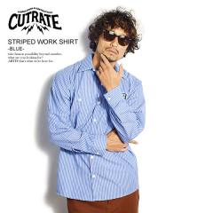 CUTRATE カットレイト STRIPED WORK SHIRT -BLUE- cutrate メンズ シャツ ストライプシャツ 送料無料 ストリート