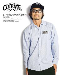 CUTRATE カットレイト STRIPED WORK SHIRT -WHITE- cutrate メンズ シャツ ストライプシャツ 送料無料 ストリート
