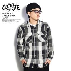 CUTRATE カットレイト HEAVY NEL CHECK SHIRT -BLACK- cutrate メンズ シャツ チェックシャツ 送料無料 ストリート