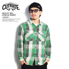 CUTRATE カットレイト HEAVY NEL CHECK SHIRT -GREEN- cutrate メンズ シャツ チェックシャツ 送料無料 ストリート