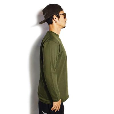 DOUBLE STEAL ダブルスティール SMALL BASIC LOGO L/S TEE -ARMY/WHITE- メンズ Tシャツ 長袖 ロンT ストリート doublesteal